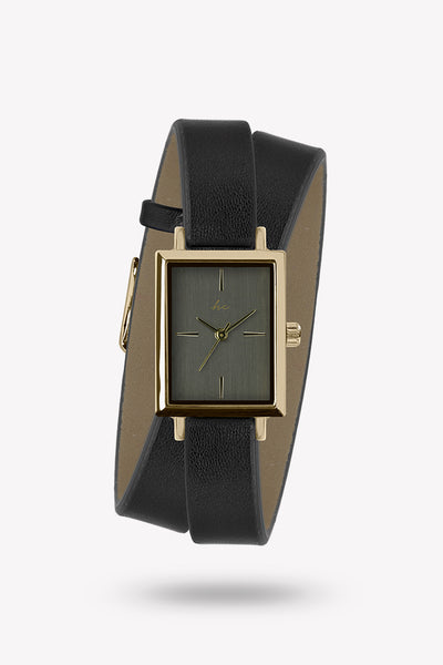 Kacie Wraparound watch - Black/Gold