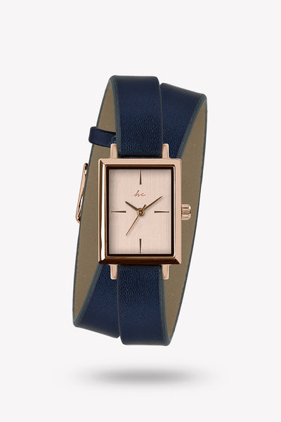 Kacie Wraparound watch - Navy/Rose Gold
