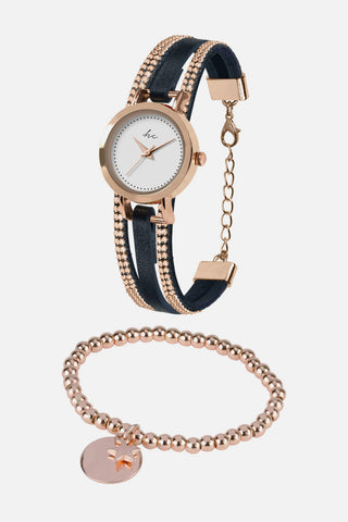 Forever Diamond - Rose Gold/Navy Watch with Free Bracelet