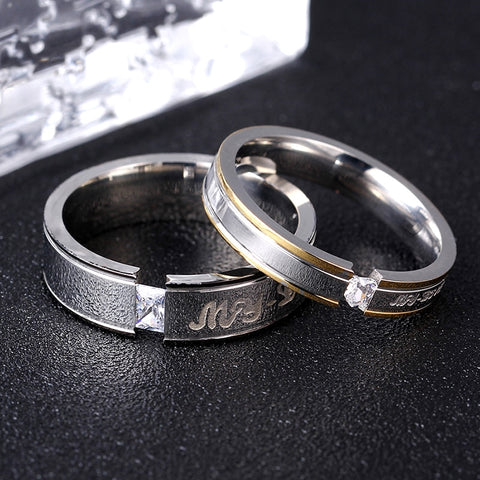 Silver Titanium Ring for Couples