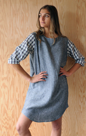 Re-Made Market Dress - Grey Sky Linen