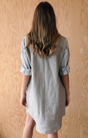 Re-Made Market Dress - Sand Beige Linen
