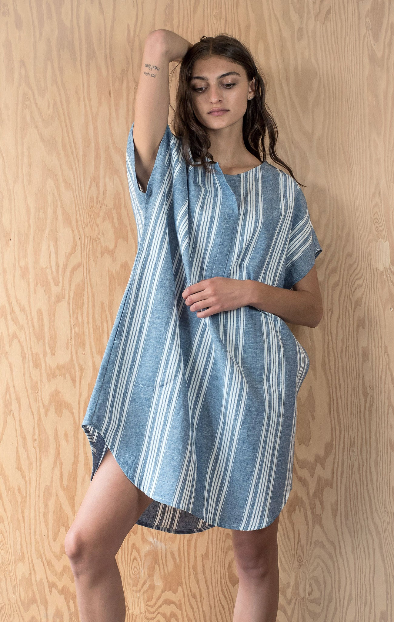 Ella Dress - Blue Awning Stripe Linen Blend