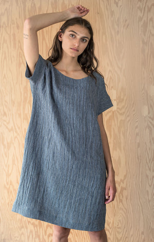 Tasha Dress - Navy Linen Crinkle