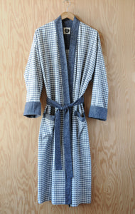Flannel Robe - White Chippewa Falls Check with Navy Heather Trim