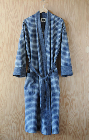 Flannel Robe - Blue Chippewa Falls Check with Navy Heather Trim
