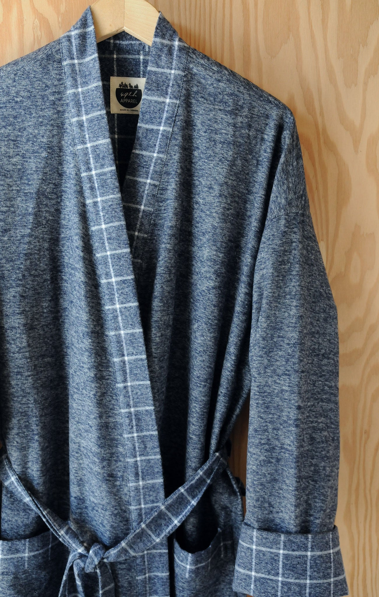Flannel Robe - Navy Heather with Window Pane Trim