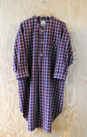 Ebeneezer Nightshirt - Ranger Lake Plaid Rust Brushed Cotton