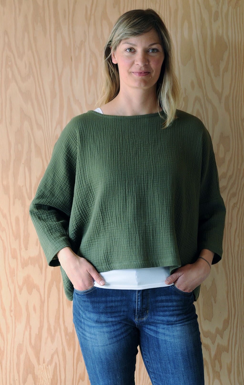 One Size Crop Top - Green Cotton Double Gauze