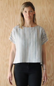 High Low Tee - Navy and Tan Fine Stripe Linen