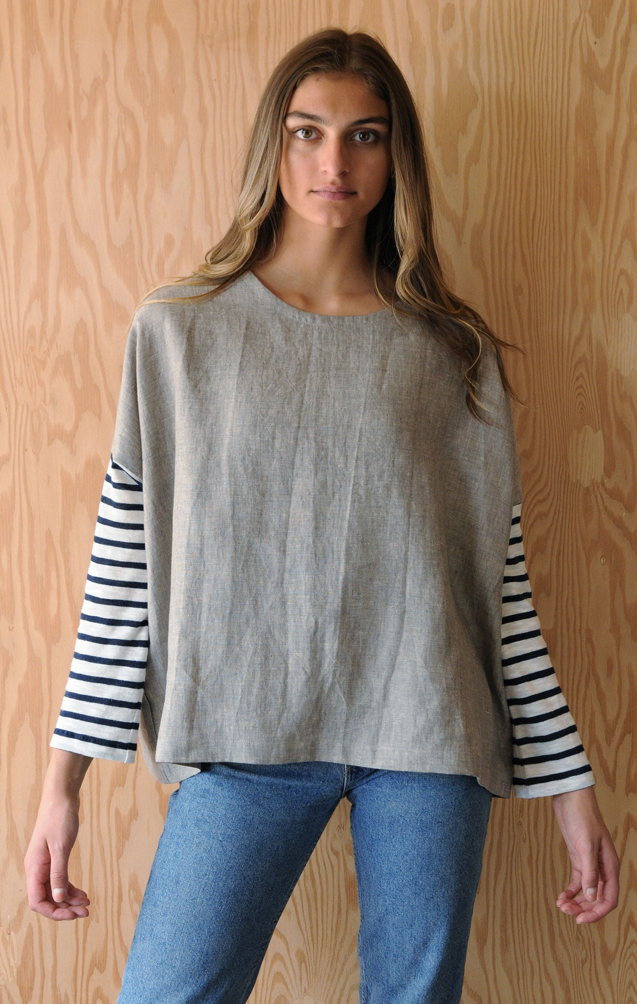 Re-Made Tunic with Upcycled Sleeves - Sand Beige Linen