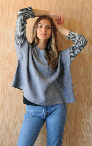 Re-Made Tunic - Grey Sky Linen