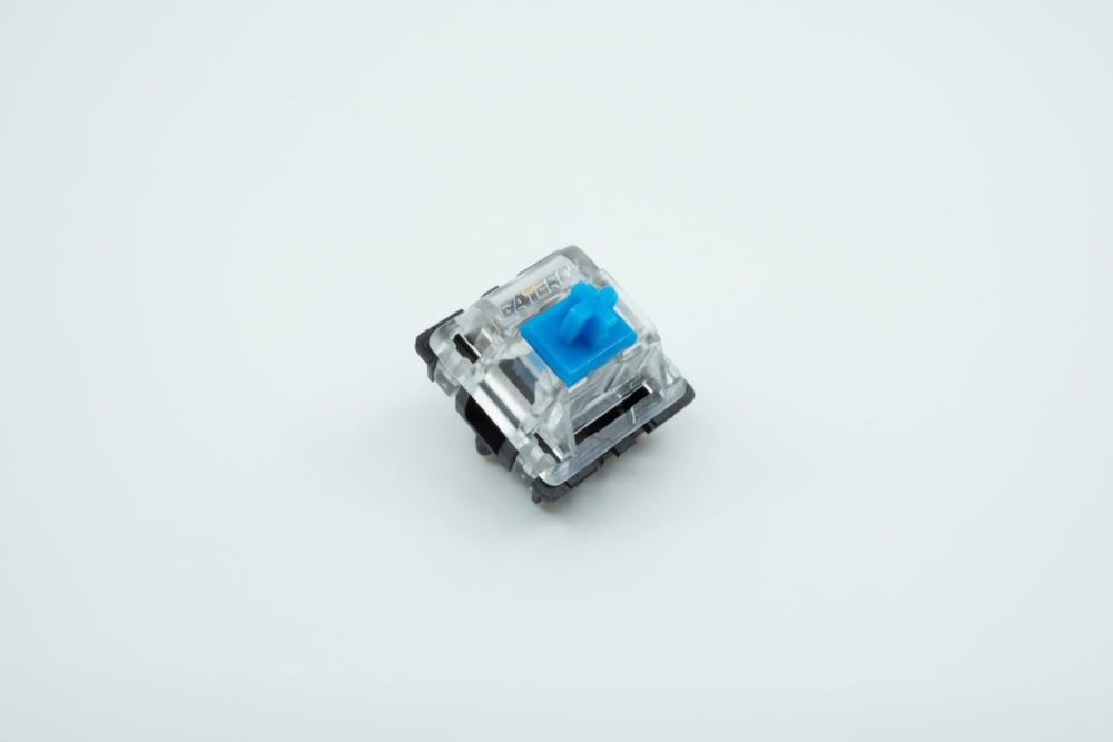 A macro photo of the Gateron Blue switch.