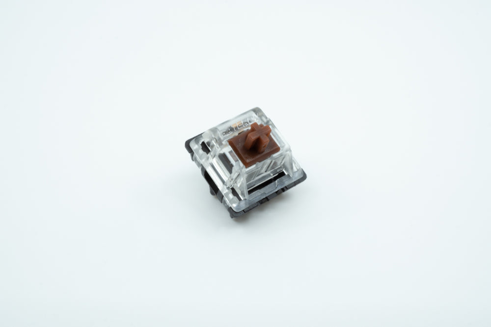 A macro photo of the Gateron Brown switch.