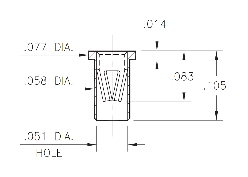 A technical drawing of the Mill Max 7305 hot swap socket, showing its dimensions.