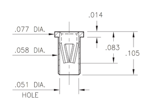 Load image into Gallery viewer, A technical drawing of the Mill Max 7305 hot swap socket, showing its dimensions.