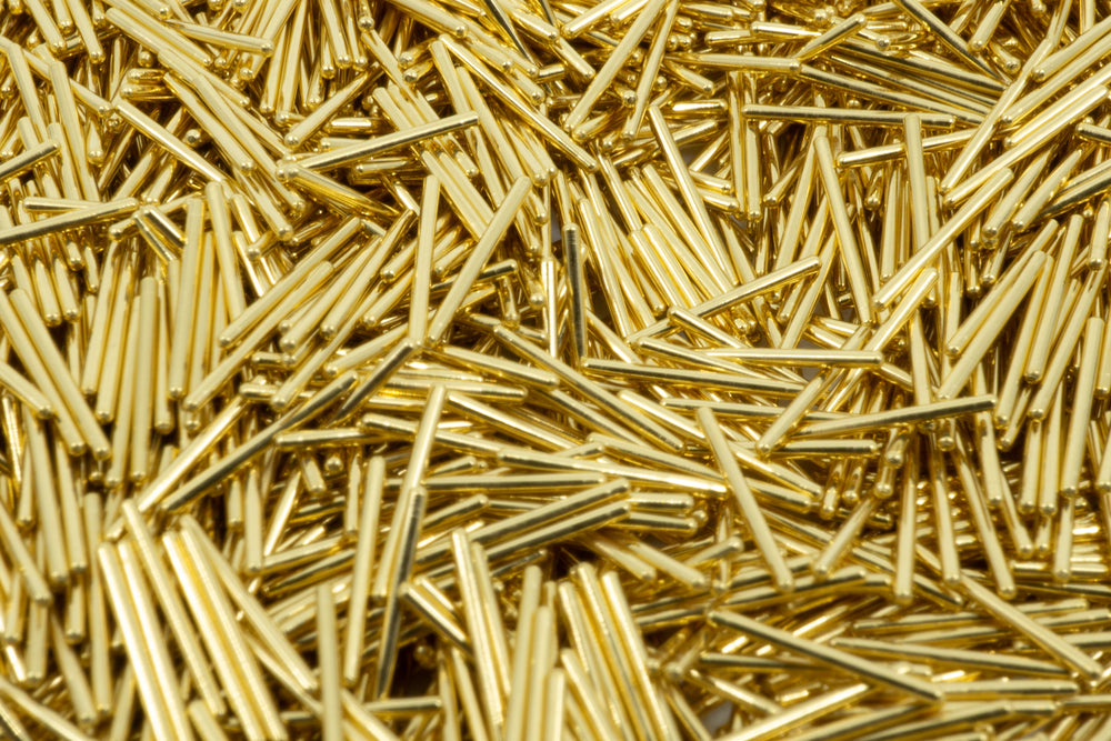 Load image into Gallery viewer, A macro photo filled with gold plated Mill Max pins.