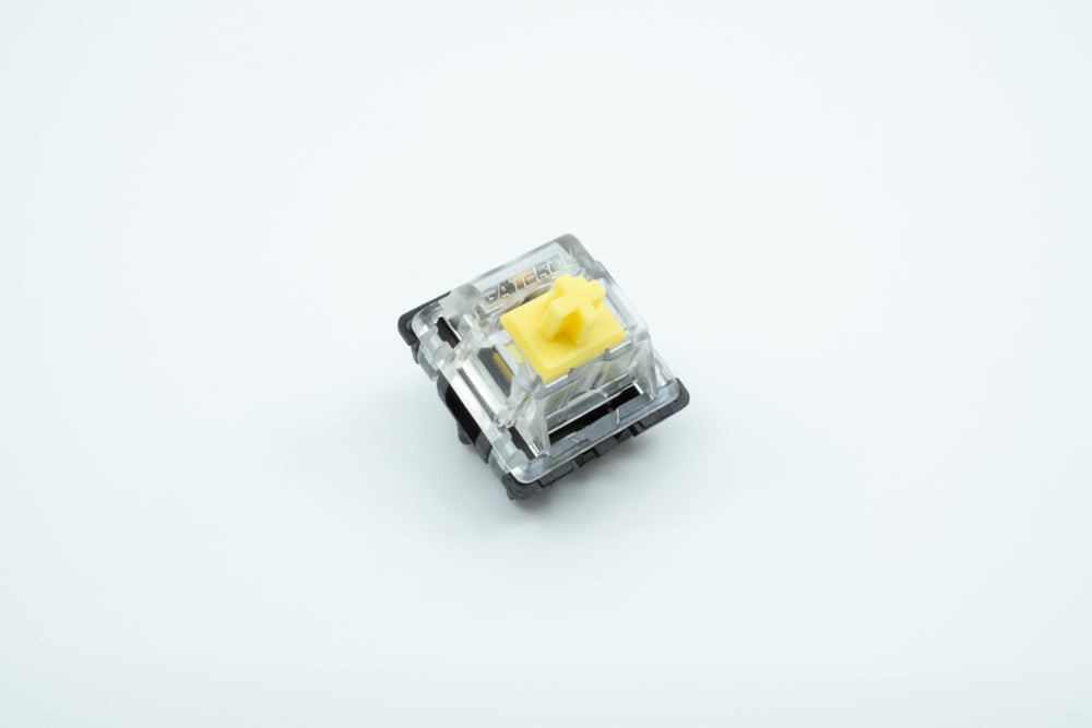 A macro photo of the Gateron Yellow switch.