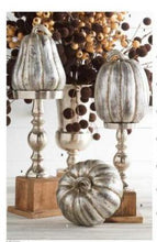 Load image into Gallery viewer, Silver Candleholder with Wood Base (16 Inch)