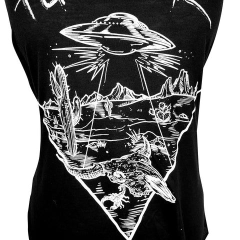 UFO Desert Tucson Ladies Tank (Black)