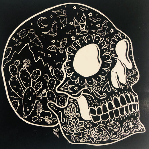 Tucson Arizona Sugar Skull Vinyl Sticker