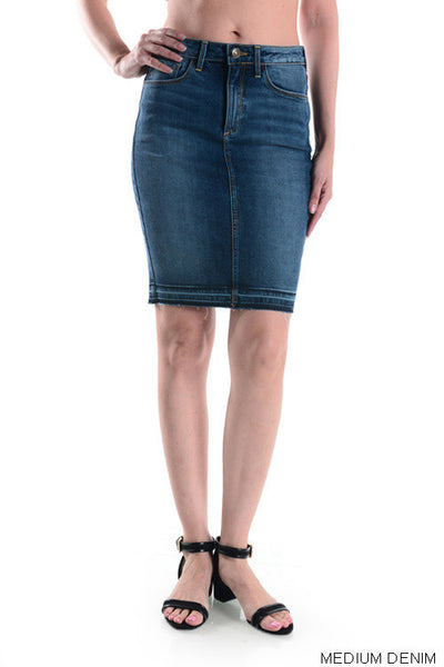 Released Hem Denim Pencil Skirt - Medium Wash