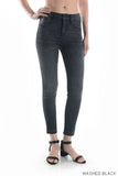 High Rise Cropped Released Hem Skinny Jeans - Washed Black