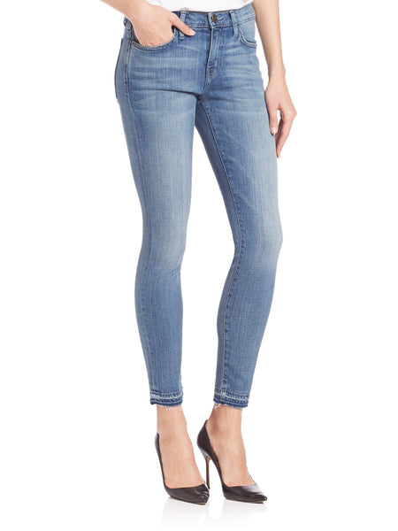 High Rise Released Hem Crop Skinny Jeans - Medium Wash