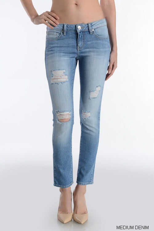 Distressed Relaxed Fit Ankle Jeans - Medium Wash