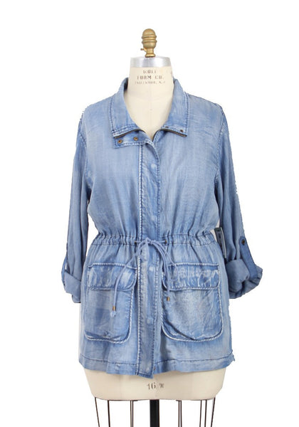 Washed Chambray Drawstring Waist Lightweight Tunic Jacket - Light Wash