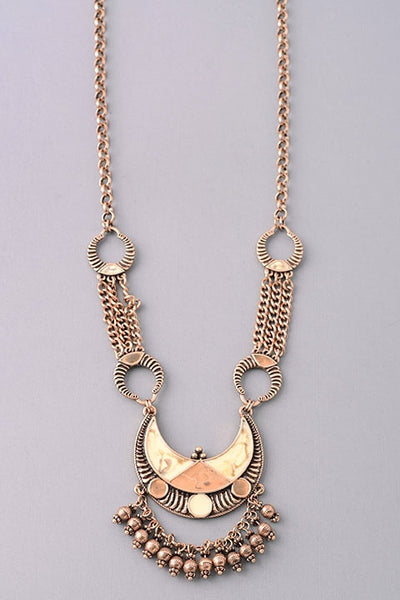 Long Tribal Beaded Crescent Moon Necklace - Antiqued Gold or Antiqued Silver