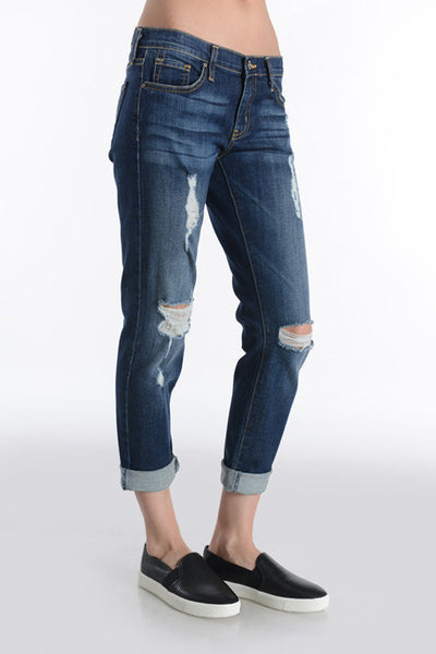 Destroyed Slim Boyfriend Jeans - Dark Wash