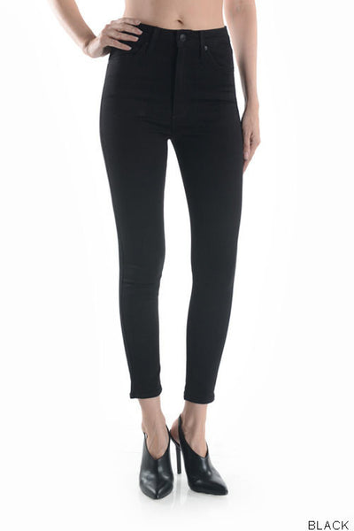 High Rise Cropped Skinny Jeans - Black