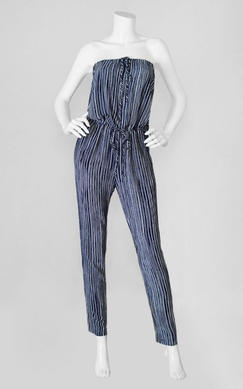 Strapless Vertical Striped Tie Waist Jumpsuit - Navy/White