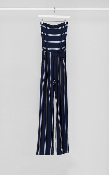 Strapless Striped Wide Leg Jersey Jumpsuit - Navy/White