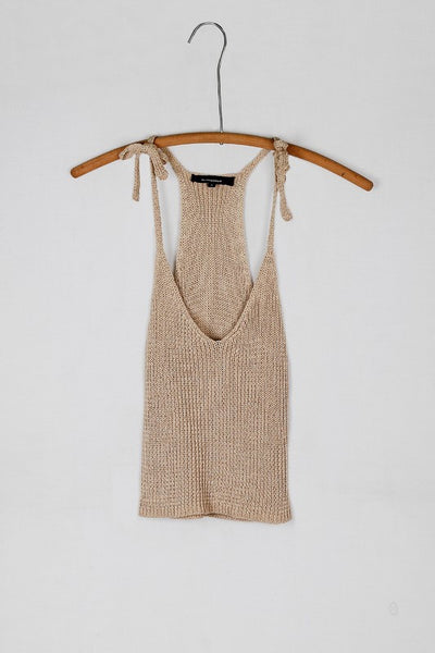 Tie Shoulder Knit Sweater Crop Top - Camel