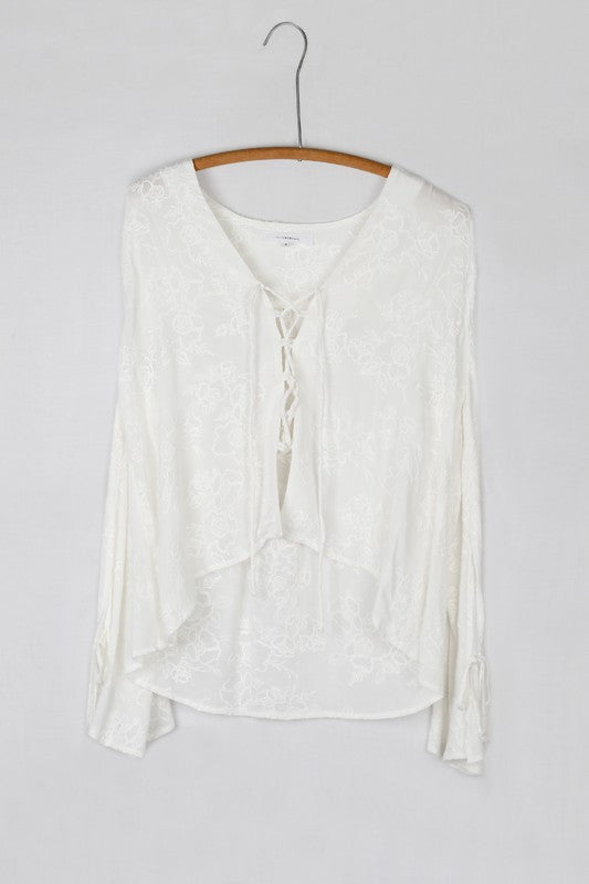 Long Sleeve Floral Textured Lace Up Front Blouse - White