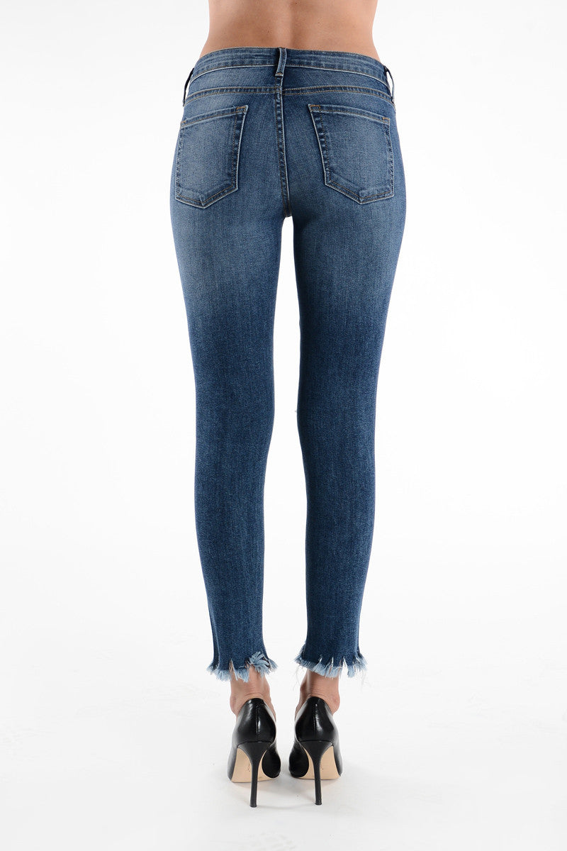 Cropped Raw Hem Distressed Skinny Jeans - Medium Wash