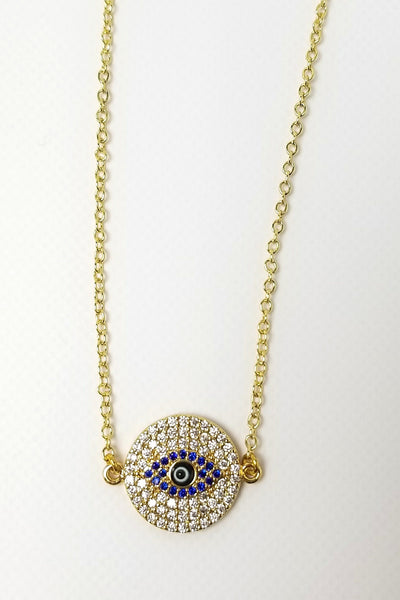 Athena Evil Eye Disc Pendant Necklace - Gold
