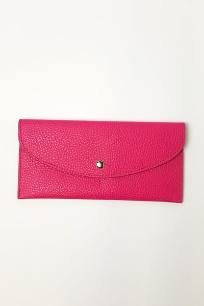 Envelope Style Snap Faux Leather Wallet - Fuchsia or Turquoise