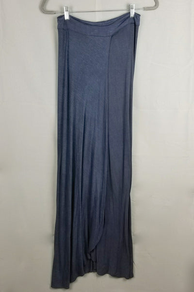 Crossover Front Jersey Maxi Skirt - Navy Blue
