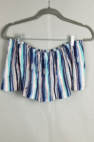 Rainbow Striped Layered Strapless Top - Blue/Multi