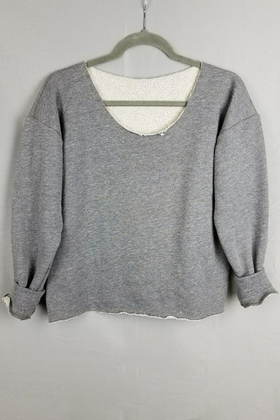 Raw Edge Terry Cropped Sweatshirt - Heather Gray