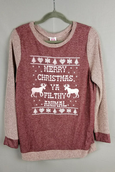 "Holiday ""Merry Christmas Ya Filthy Animal"" Colorblock Terry Sweatshirt - Burgundy"