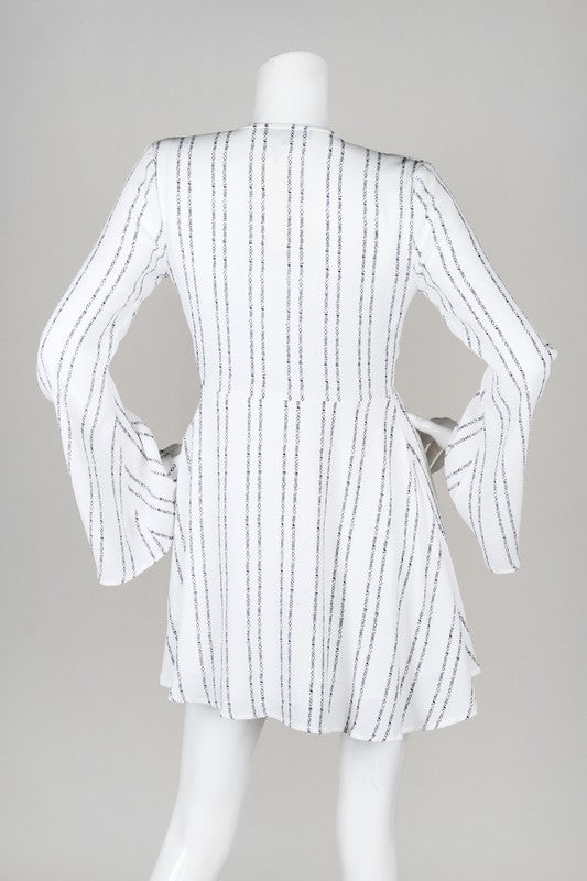 Long Sleeve Patterned Stripes Tie Front Dress - Ivory/Navy