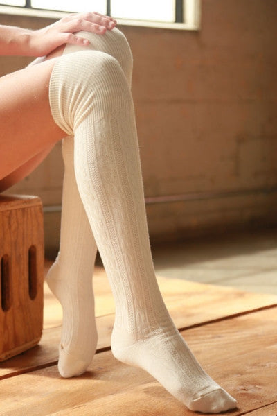Classic Cable Over the Knee Socks - Black, Taupe, Oatmeal, Ivory or Gray
