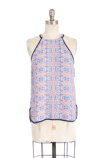 Sleeveless High Neck Blurred Tribal Print Blouse - Blue/Multi