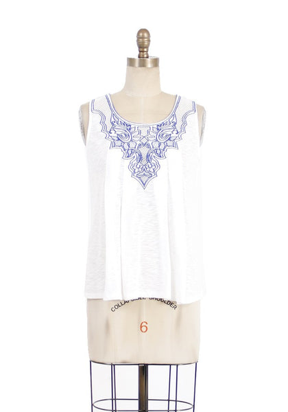 Sleeveless Front Embroidery Blouse - White/Blue
