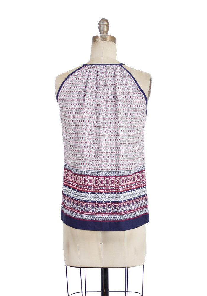 Sleeveless Ethnic Border Print Notch Neck Blouse - Red/Navy