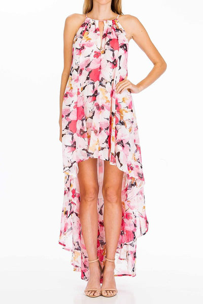 Halter Notch Neck Floral Print High Low Maxi Dress - Bright Pink/Multi